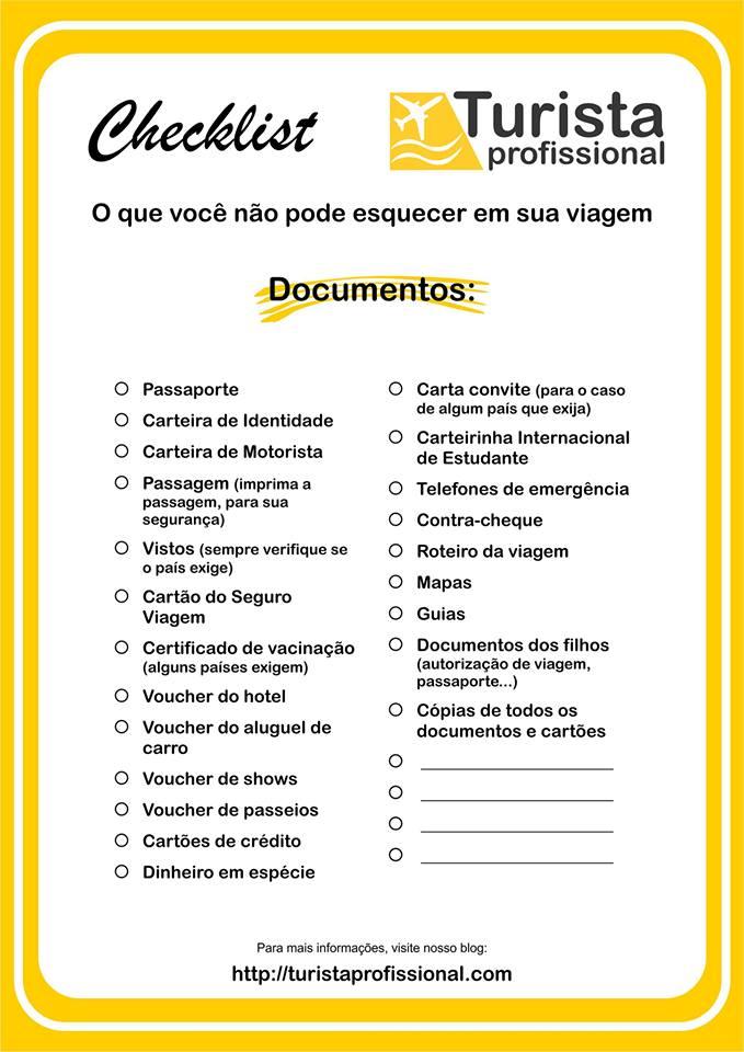 Checklist documentos de viagem